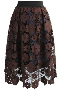 Floral Reverie Crochet Midi Skirt in Brown - New Arrivals - Retro, Indie and Unique Fashion