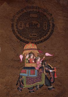 Rajasthani Indian Miniature Painting Handmade Stamp Paper Ethnic Procession Art