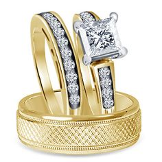 Princess 6MM Simulated Diamond 9kt Yellow Gold Finish His & Her Trio Ring Set #br925silverczjewelry #SolitaireWithAccentsRing
