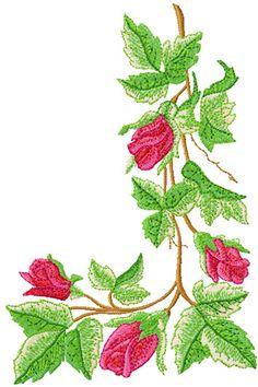 Corner roses free machine embroidery design