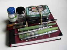 Travel Sketching Kit - click on the first line to read some insight /questions /links about paring down a travel kit. http://blog.jennibick.com/2013/09/travel-art-kits-for-on-the-go-art-journaling.html