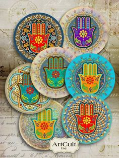 FATMA& HAND - inch Digital Collage Sheet moroccan Hamsa Spiritual Amulet images for Pocket Mirrors Magnets Paper Weights Printable♥Welcome to ArtCult - Printable digital goods on Etsy!♥ ArtCult Printable Images are great for your art and craft pr Cd Crafts, Arts And Crafts Projects, Mandala Art, Painted Bamboo, Hand Painted, Hand Der Fatima, Hamsa Art, Dot Painting, Collage Sheet