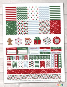 Printable red, green and blue Christmas themed planner stickers. #ad #christmas #plannerstickers #stickers #holidays