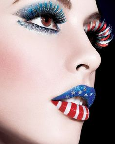 Gorgeous Red, White and Blue Make-up with Crystal Stars!  From the Maybelline 2012 Calendar.