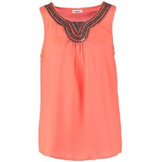 ONLY ONLBELTA Blouse fiery (1,730 INR) ❤ liked on Polyvore featuring tops, blouses, coral, j.crew blouse, sleeveless tops, sleeveless blouse, tall tops and red blouse