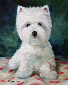 PRINT Westie West Highland Terrier Dog Art Oil Painting / Mary Sparrow Smith