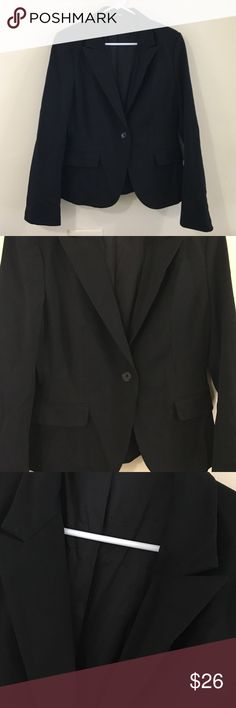 Black One Button Suit Jacket Black, one button suit jacket. Two slits on base of back, faux front pockets, 4 Button embellishments on sleeves. Great condition. Express Jackets & Coats Blazers