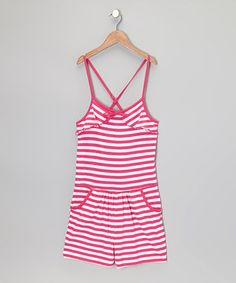 Another great find on #zulily! Pink & White Stripe Romper - Girls by Longstreet #zulilyfinds
