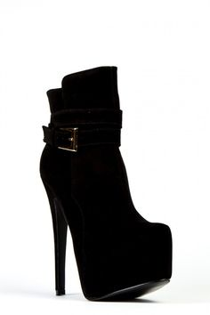 Faux Suede High Heeled Ankle Boots