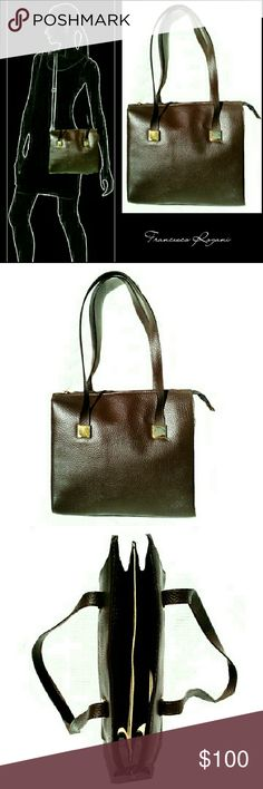 """FRANCESCO ROGANI PEBBLED GENUINE LEATHER BAG GORGEOUS  BROWN ITALIAN LEATHER FRANCESCO ROGANI  BAG ?? NEVER BEEN USED ?? Beautiful & Stylish w/ Beige Suede Interior & Gold Color Hardware *   Chocolate Color Genuine Italian Leather """"    Gold Tone Hardware *   2 Leather Straps ; Drop 8"""" *   1 Large Centered Zip Pouch *   1  Interior Side Zip Pouch w/ Cell Phone Pocket *   Approx Meas;           *   Ht. 10""""           *   L.. 11""""           *   D. 2 3/4""""           *   Cell Phone W.   2 1/2"""" Pls…"""