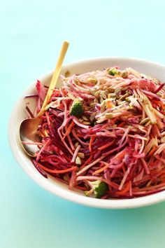 A healthy slaw loaded with fall veggies and fruits, and dressed in a tahini-apple cider dressing! Crisp, refreshing and comes together in 30 minutes.