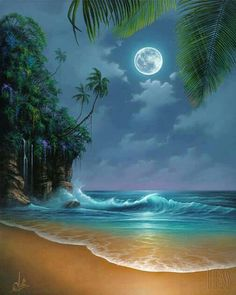 Bright moon, beach waves, palm trees... on a hot summer night