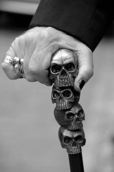 This skull walking stick, or cane, was found on Pinterest - artist/creator unknown.
