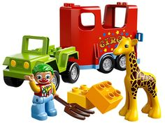 Lego Duplo Town Circus Transport  Load the baby giraffe onto the Circus Transport and hit the road! Help the clown to load the baby giraffe onto the Circus Transport with decorated trailer and get the show on the road! Feed the animals with the pitchfork and build with the assorted LEGO® DUPLO® bricks! Includes clown DUPLO figure. Includes clown LEGO® DUPLO® figure