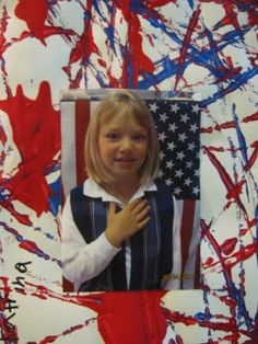 Marble paint white paper with red and blue.  Add picture of child with hand on heart.  How patriotic!