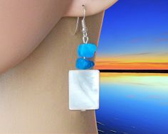 Earrings with natural pearl and turquoise. от Lybid на Etsy, $19.00