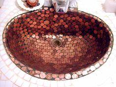 Copper Penny Tiled Sink