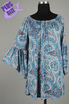 *** New Style *** Flirty Knit Drop Waist Tunic with Ruffle Bell Sleeves and Elastic Neckline in Gorgeous Paisley Garden Print.