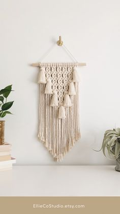 Instantly add an eclectic touch to your space with this stunning tasseled wall hanging. This gorgeous handcrafted macramé piece is made with 100% unbleached cotton cord, that is Canadian sourced Foxes Photography, Beautiful Wall, Home Decor Inspiration, Your Space, Cord, Tassels, Wall Decor, Tapestry, Touch