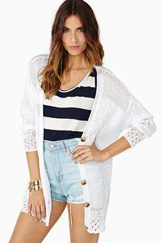 Summer casual cardigan, high waisted denim shorts & stripes