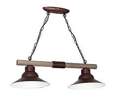 Lámpara de techo de metal y madera James - marrón