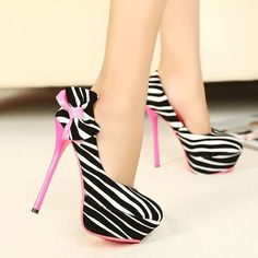 Zebra Pumps Trimmed in Pink fashion shoes black white bow high heels stilettos zebra pumps High Heels For Prom, Prom Shoes, High Heels Stilettos, Womens High Heels, Stiletto Heels, Shoes Heels, Zebra Heels, Pink Heels, Sexy Heels