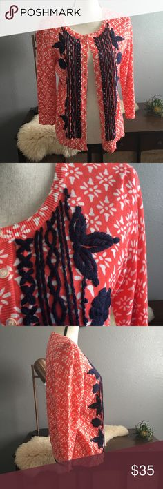 """Anthro tabitha embroidered cardigan coral navy BEAUTIFUL coral and navy blue cardigan from Anthropologies Tabitha size medium true to size with beautiful thick embroidery. Flawless condition free of stains tears and holes. Measures 17"""" shoulder to shoulder, bust 19"""", length 23"""" Anthropologie Sweaters Cardigans"""