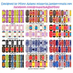 Custom Designed Disney inspired Mickey and Friends Jamberry nail wraps. Available exclusively through me at facebook.com/groups/NASbyMisty