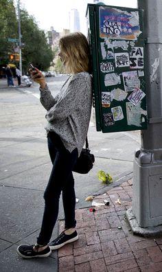 Women's Grey Oversized Sweater, Black Skinny Jeans, Black Low Top Sneakers…