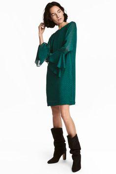 Sukienka z falbankowym rękawem - Zielony - ONA | H&M PL