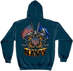 Crewneck Sweatshirt America Home of The Brave Military Shield Army Navy USMC