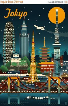 15% OFF SALE Tokyo, Japan - Retro Skyline (Art Prints available in multiple sizes)