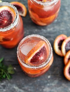 Blood Orange Sangria  Yield: 4-6 Servings    Ingredients:    6 blood oranges  2 (750ML) bottles of pinot grigio  1 cup club soda  1/2 cup brandy  12 ounces of strawberries, sliced  1 pint of raspberries  1 apple, chopped  1/2 cup sugar, for glass rimming    Directions: