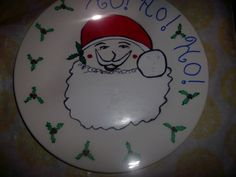 Ho Ho Ho Santa Claus Christmas Painted Giving Plate von missy69