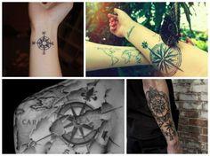 Mapas, bússolas e coordenadas, claro. E ainda carimbos de passaporte, horizontes e fotografias. Impossível não encontrar inspiração para sua próxima tatuagem.