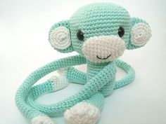 Monkey curtain tie back cotton yarn crochet monkey by thujashop