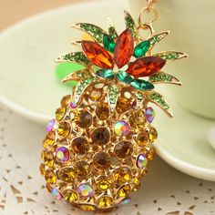 Fashion gold pineapple keychain bag charm rhinestone keyring cute birthday gift
