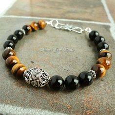 Tiger Eye and Black Onyx Gemstone Mens Bracelet in Sterling Silver | Mamis_Gem_Studio - Jewelry on ArtFire