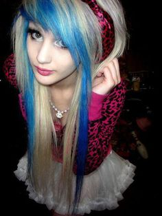 emo girl with blue and blonde hair.