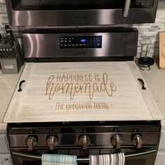 """Personalized Stove Top Cover, Custom Ottoman Tray, Noodle board, """"Greg – Stamp Out Custom Kitchens, Modern Farmhouse Kitchens, Farmhouse Decor, Wooden Kitchen, Kitchen Decor, Kitchen Ideas, Wooden Stove Top Covers, Stove Covers, American Kitchen Design"""
