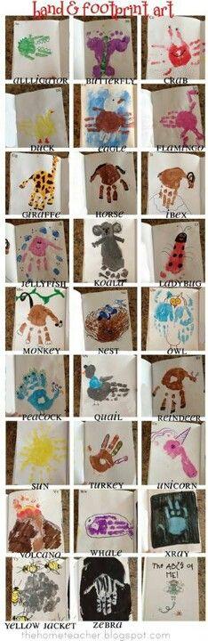 Handprint and footprint ideas