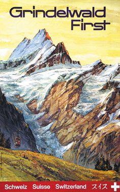 Vintage Travel Poster - Grindelwald - Switzerland.                                                                                                                                                                                 Mehr