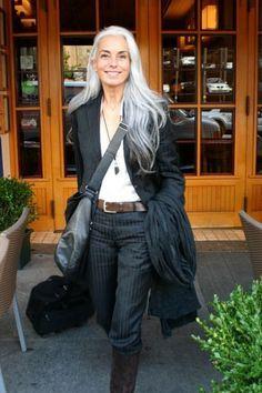 Gorgeous long grey hair of model/ photographer Yasmina Rossi (1955)