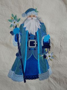 Embroidered blue santa quilt block,cushion panel,quilt block, christmas panel