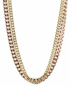 RACHEL Rachel Roy Two-Tone Layered Curb Chain Necklace
