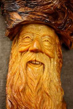 Wood Carving Wood Spirit Elf Wizard Unique Birthday Gift for Him, Log Cabin Decor, Gary Burns the Treewiz, Ooak Wooden 5th Anniversary Gift on Etsy, $158.00