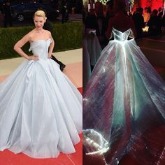 Actress Claire Danes literally glowed in this @zacposen gown lined with fibre optics, a perfect reflection of the #MetGala's fashion-meets-tech theme.