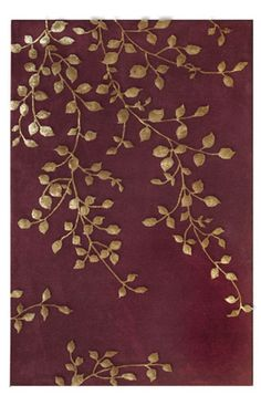 The Rug Market Maison Golden Leaves Burgundy Rug at Rugs USA