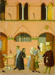 Master of the Osservanza (Sano di Pietro?) - Saint Anthony Distributing His Wealth to the Poor - c. 1430/1435 - Painting