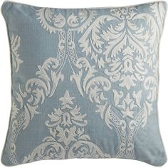 We're into keeping ancient art forms fresh. Like the damask on our pillow—classic patterns are woven in white on a pretty blue. It's a little burst of texture that can be mixed and matched with solids or prints. We think those ancient damask weavers would be proud.